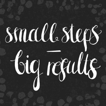 "Hand drawn lettering motivational quote ""Small Steps -Big Results"". Vector card design with modern typography on abstarct artistic background. Design for cards, posters, social media content, t-shirts."